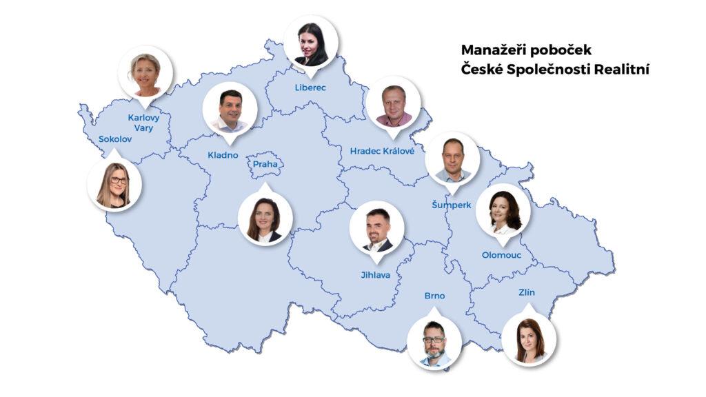Mapa s manažery České Společnosti Realitní